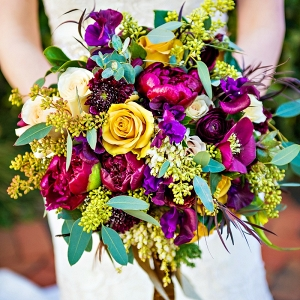 romantic textured bridal bouquet with jewel tones