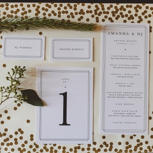 Modern wedding invitation and day of paper design