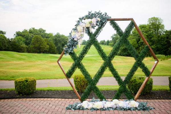 Geometric greenery backdrop