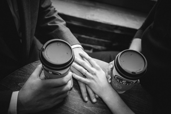 Black and White Coffee Lovers Engagement Shoot