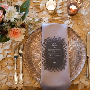 Morais Vineyard Virginia Wedding- lace wedding menu and metallic baseplate