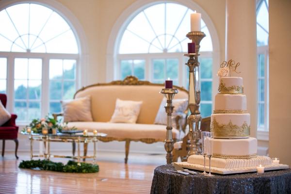 Gold Fondant Ornate Wedding Cake