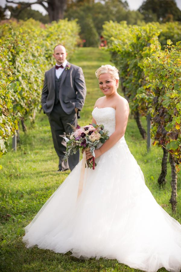 Weding portraits at Fall vineyard virginia wedding