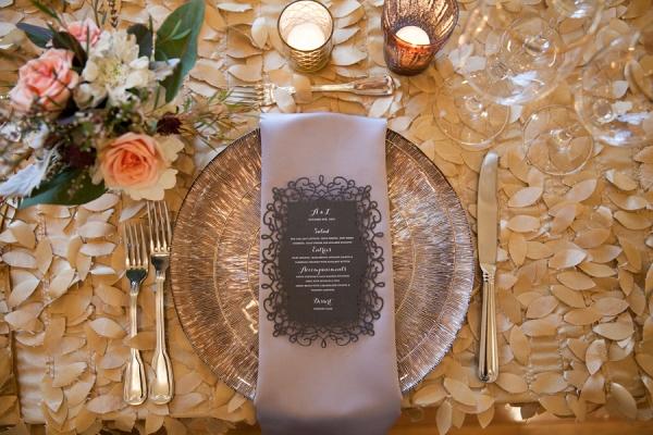 Morais Vineyard Virginia Wedding- lace wedding menu and metallic baseplate
