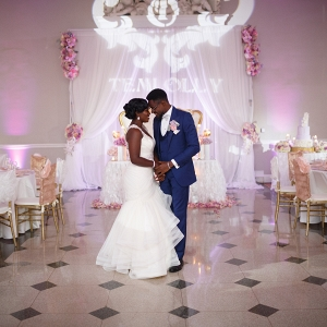 Glam sweetheart table and monogram lighting