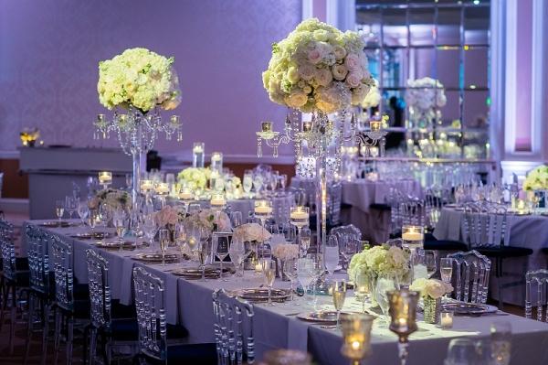 Fairmont DC Ballroom wedding all white wedding centerpiece