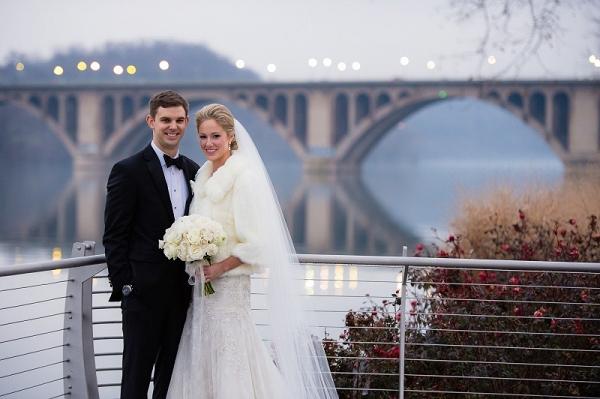 Fairmont DC Winter wedding couple portraits