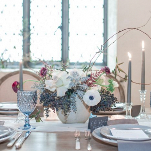 Dusty blue tablescape