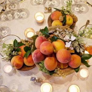 Peach centerpieces