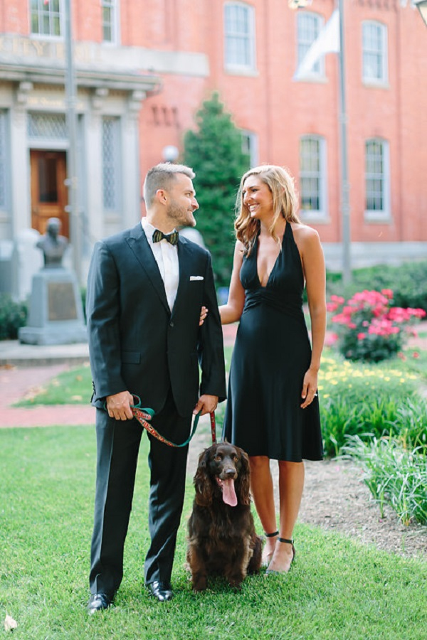 New Years inspired engagement photos with their family dog