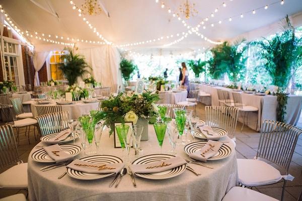 Green and black modern reception decor
