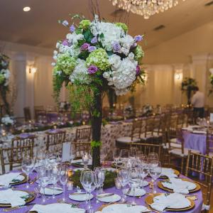romantic pastel tall wedding centerpiece