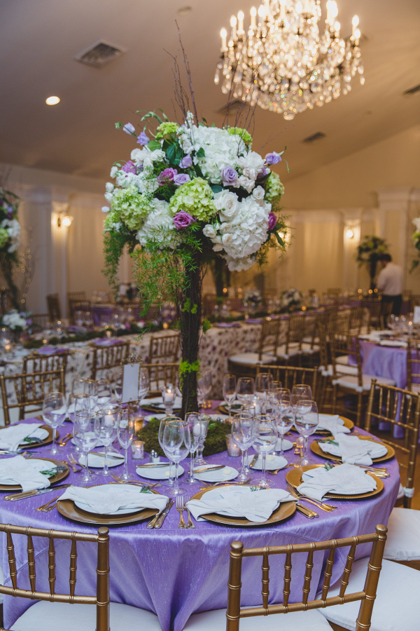 romantic pastel tall wedding centerpiece