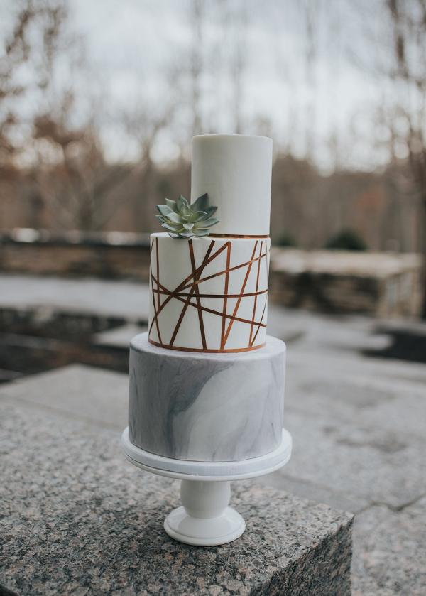 modern minimalist marble wedding cake