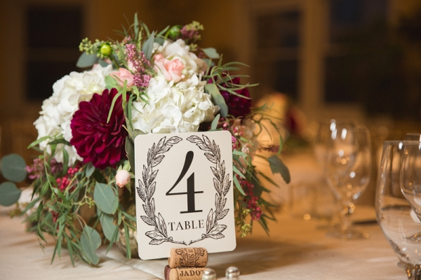 Fall Wine Colored Flower Centerpiece, Ornate Table Numbers