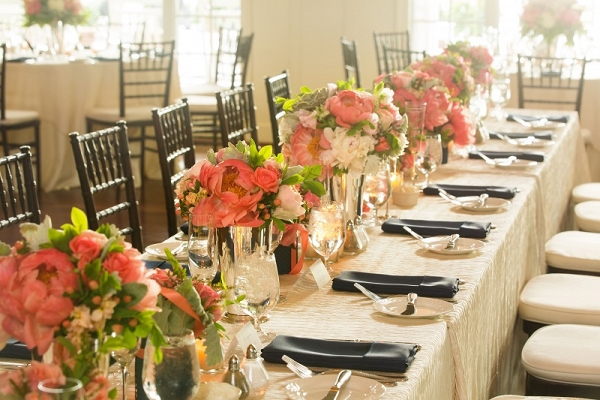 coral charm peony head table centerpiece