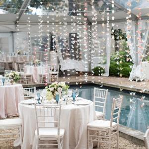 Romantic poolside reception
