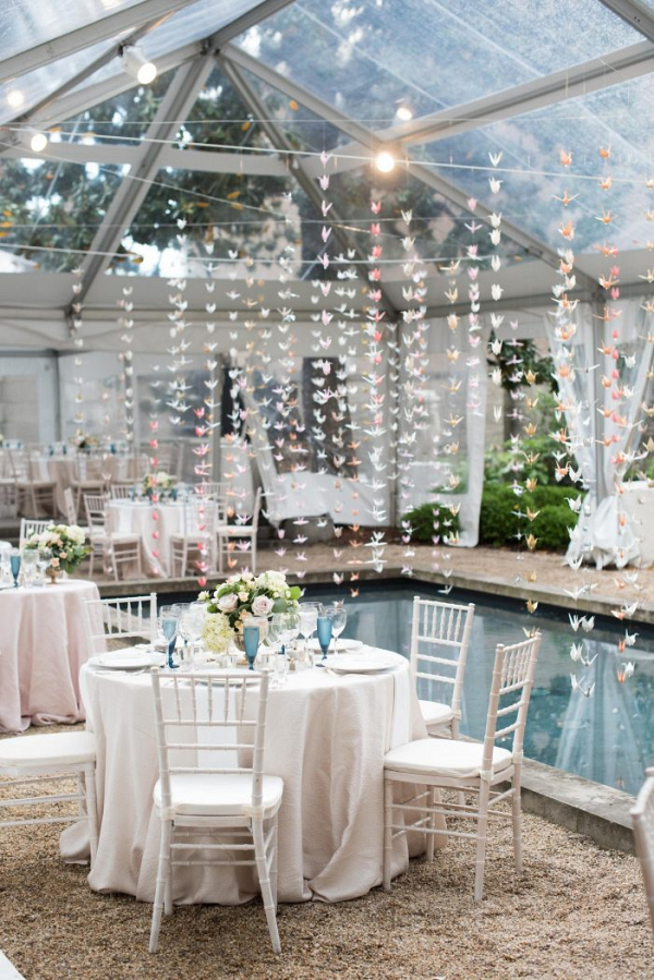 Romantic poolside reception
