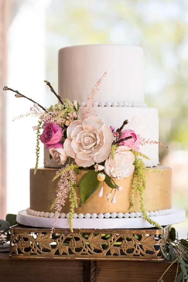 Gold and Pink Victorian Wedding Cake inspiration