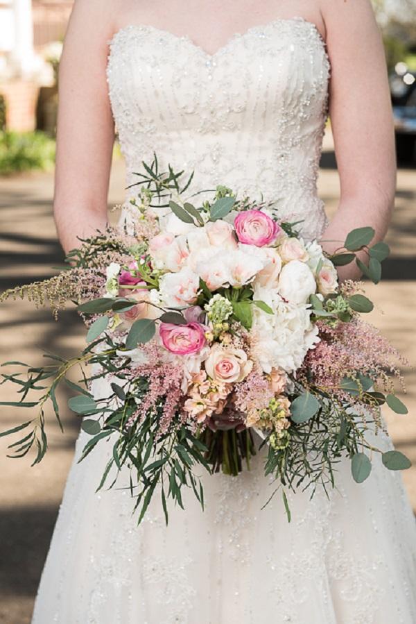 Pink and Green Garden Bridal Bouquet from Victorian Wedding Inspirational shoot