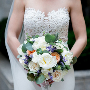 Cream, peach, and blue bouquet