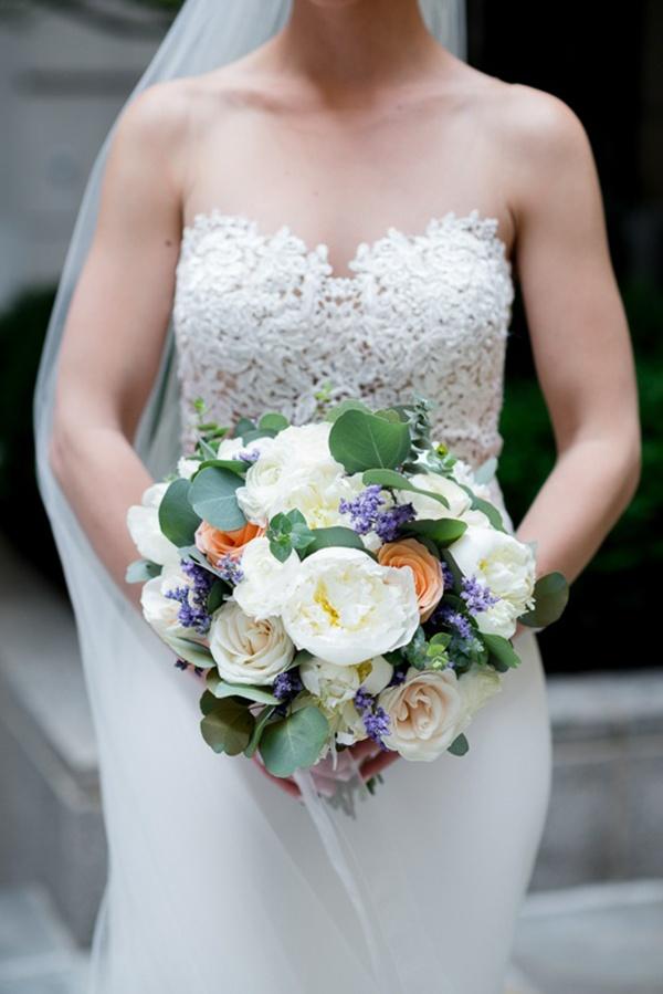 Cream, peach, and blue bouquet