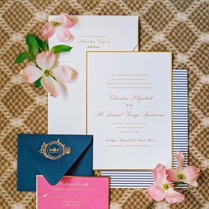 DC wedding invitation suite with navy details
