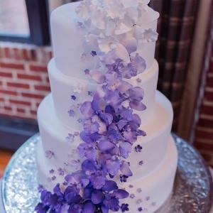 purple ombre fondant flower cake