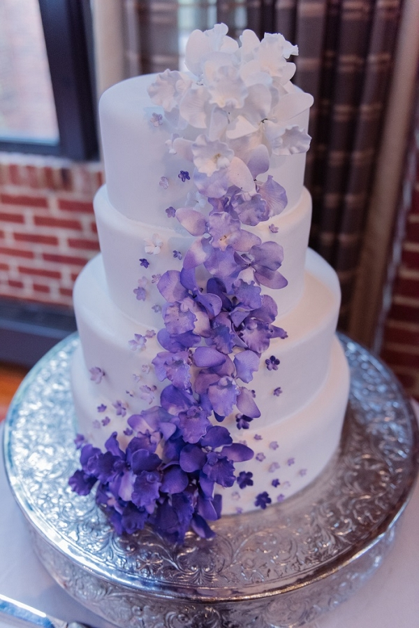 purple ombre fondant flower cake