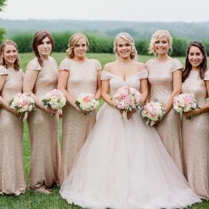 Unique Long Gold Sequin Dresses Virginia Wedding