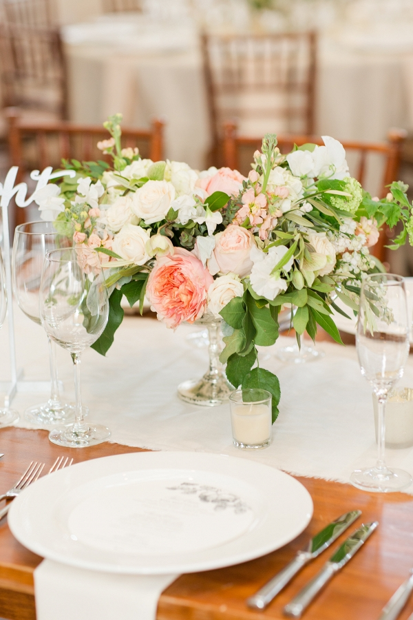 Textured compote centerpiece at Pippin Hill Charlottesville VA wedding