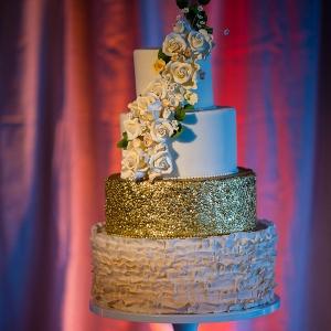Textured Gold Cake with sugar flower cascade