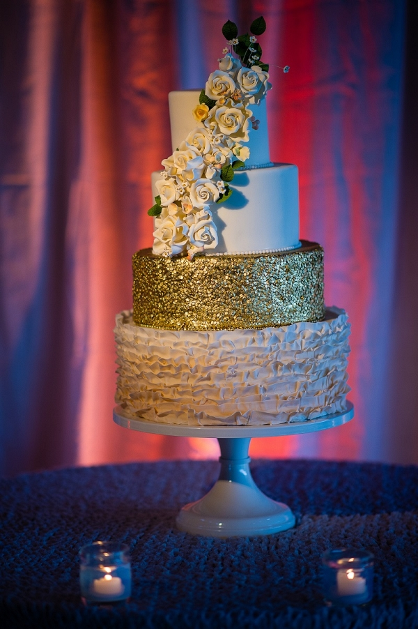 Textured Gold Cake with sugar flower cascade