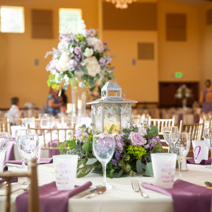 lilac tall centerpiece