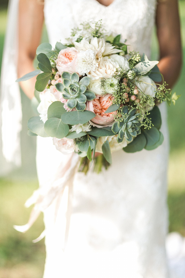 Peach and succulent bouquet