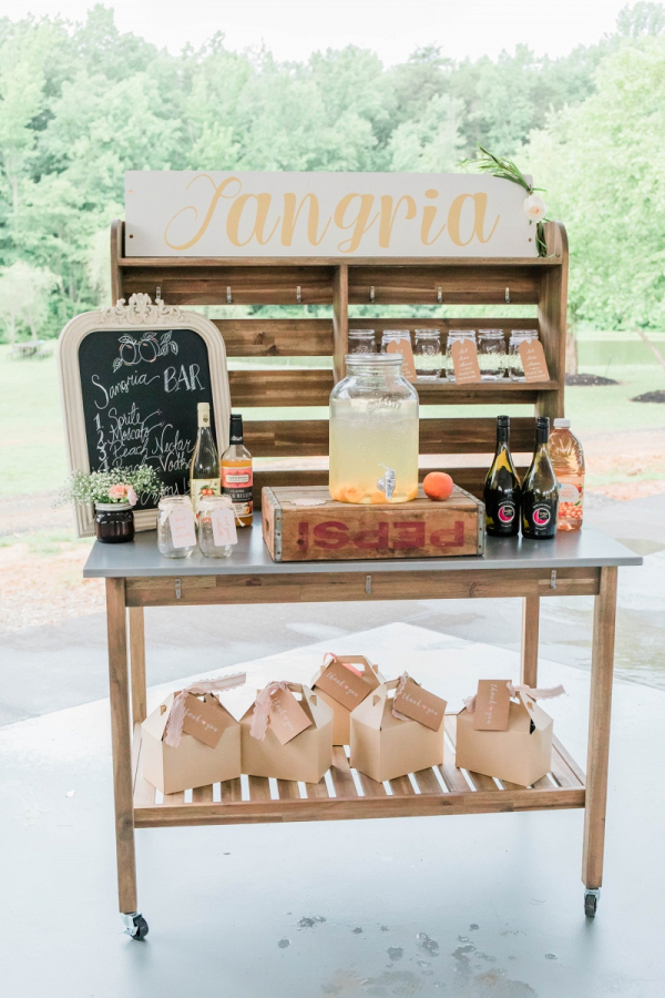 Wedding reception sangria station cocktail
