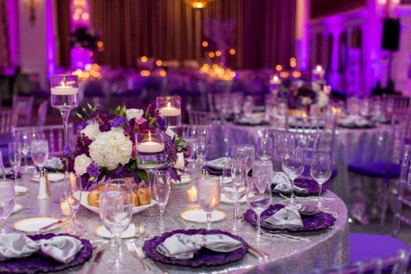 Purple and silver reception