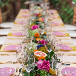 Colorful long reception table