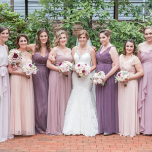Blush and mauve mis-matched bridesmaids