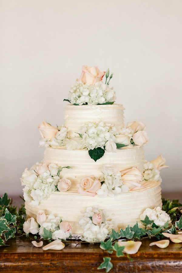 White and blush wedding cake