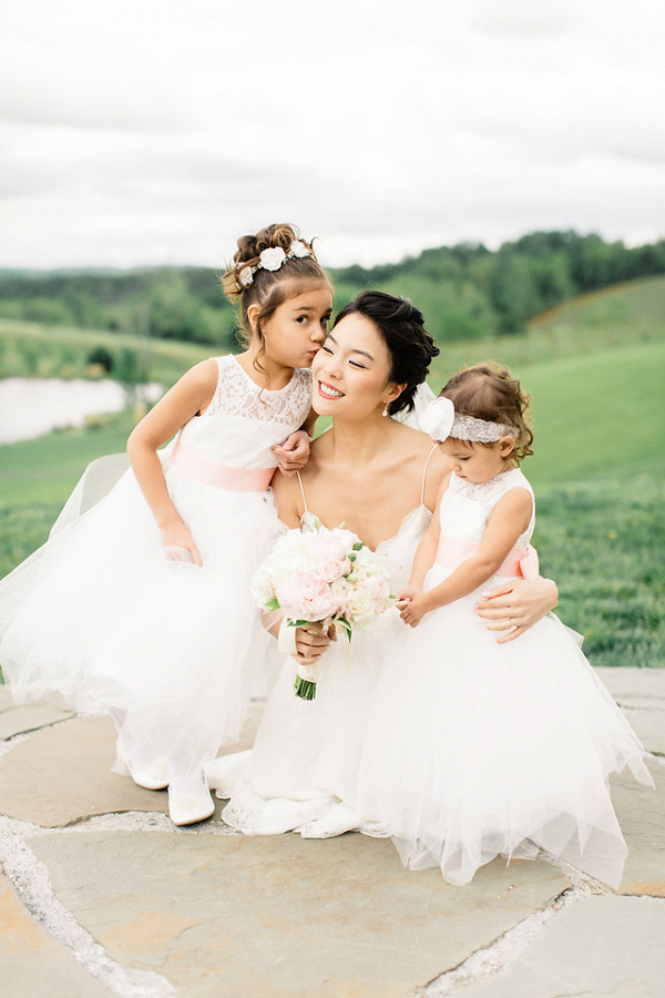 Bride with flower girls
