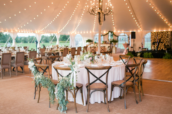 Virginia Home Wedding - outdoor tent reception table