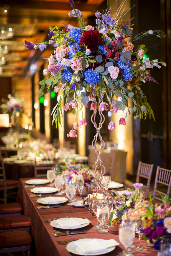 Colorful tall floral centerpiece