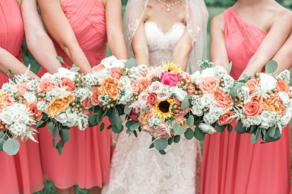 Coral bridal party