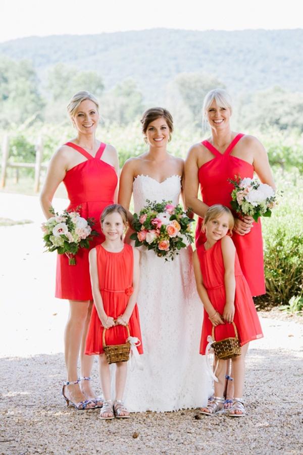 Bright coral bridal party