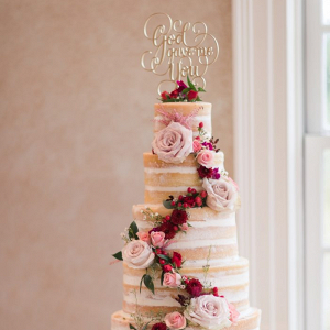 Tall semi-naked wedding cake