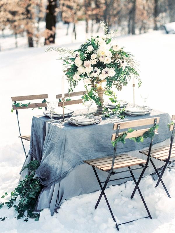 winter wedding reception table decor