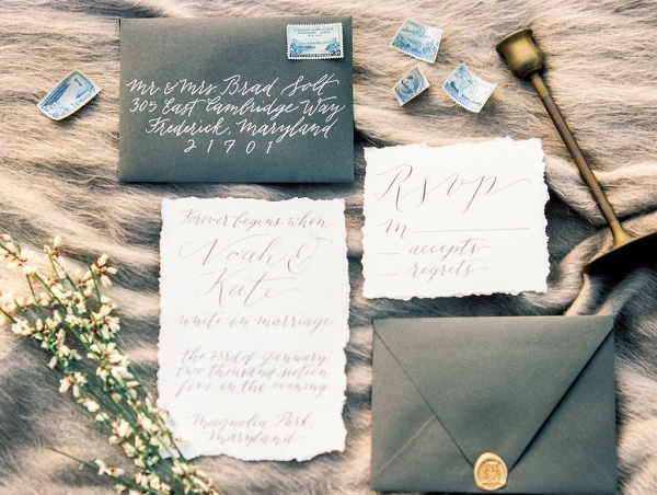 winter heather grey invitation and calligraphy